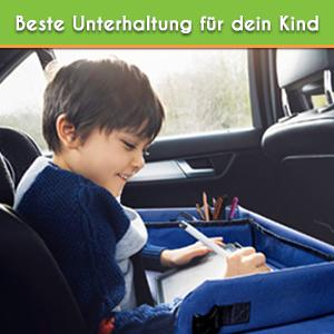 Monstafix Kinder Reisetisch Auto Doppelseitiges Knietablett Fixierbarer Autotisch Spieltisch Oder Esstisch Inklusive Papier Und Buntstiften 100 Komfort Blau Baby