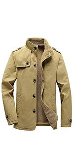 Men's Winter Cotton Fleece Lined Jacket Coat Single Breasted Outerwear