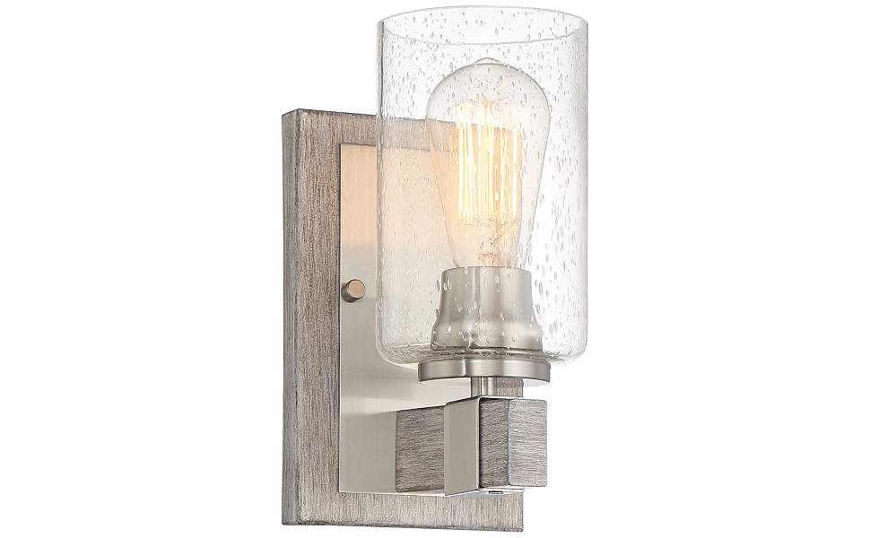 """Poetry 9"""" High Nickel and Gray Wood Rustic Wall Sconce"""