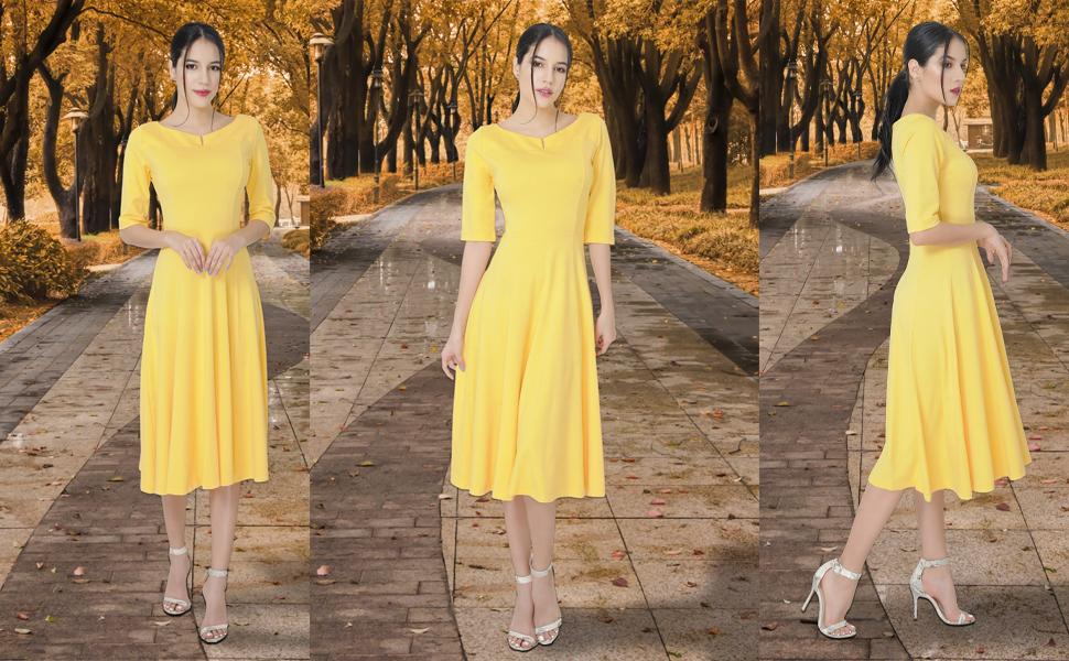 Marycrafts dresses, yellow dresses, autumn dress, fall dresses, fit and flare dresses, midi dresses
