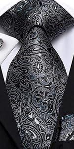 black Paisley extra Long tie