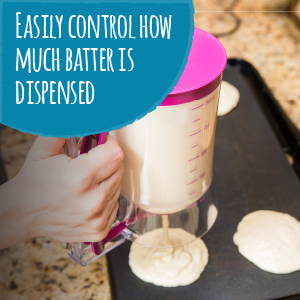 batter dispenser for pancakes, cupcakes, muffins, cake, donuts, waffles