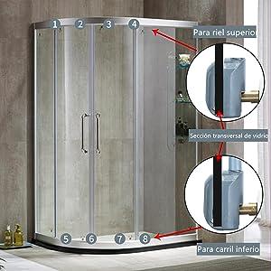 LESOLEIL Nylon Acero inoxidable ABS Cabina de ducha de plástico ...