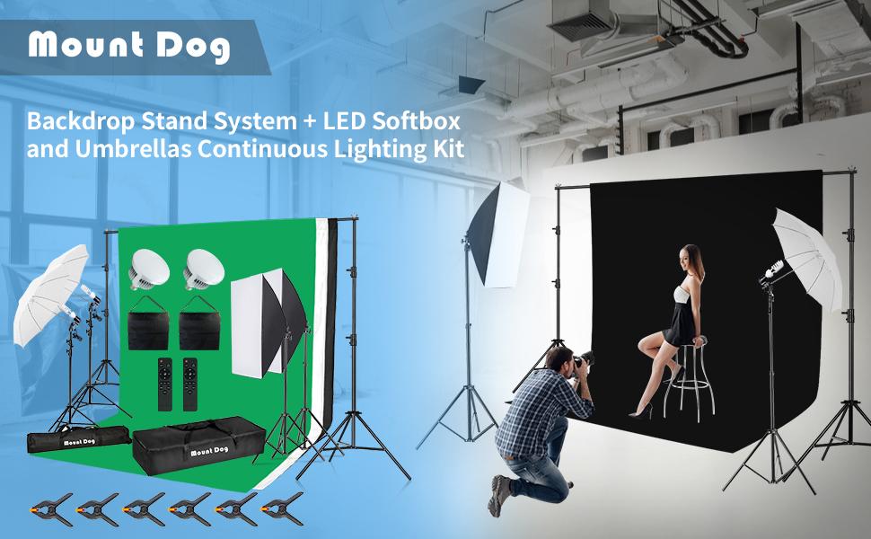 green screen photography lighting kit Backdrop Stand LEDSoftbox Umbrellas Continuous Lighting Kit