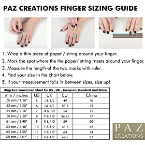 Paz Creations Ring Sizing Guide