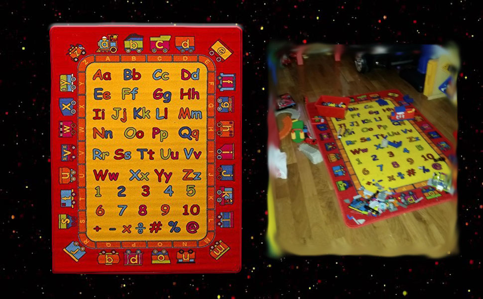 kids rug carpet baby mat playing large play mat ABC fruit food 5x7 children numbers letters 8x10 3x5