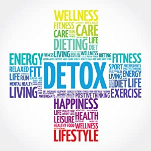 A graphic including detox, energy, and other wellness words in the shape of a plus sign