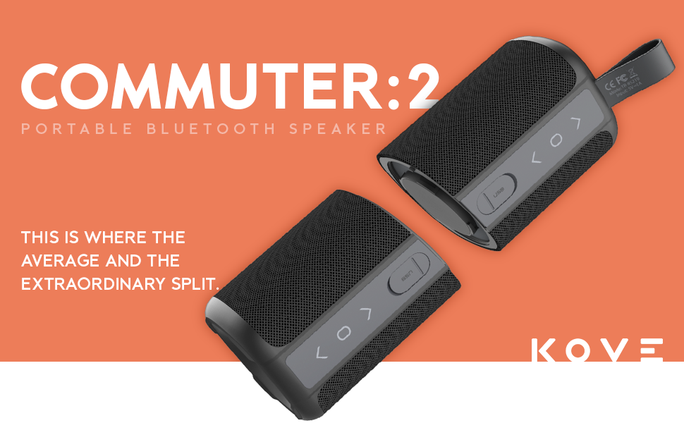 Bluetooth Speakers, Kove Commuter 9 - Portable, Wireless with HD Louder  Volume, Deep Bass Subwoofer, Microphone, IPX9 Waterproof - Perfect Boom Box