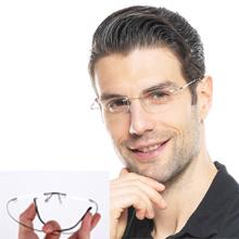 SOOLALA men semiless frameless reading glasses for men women
