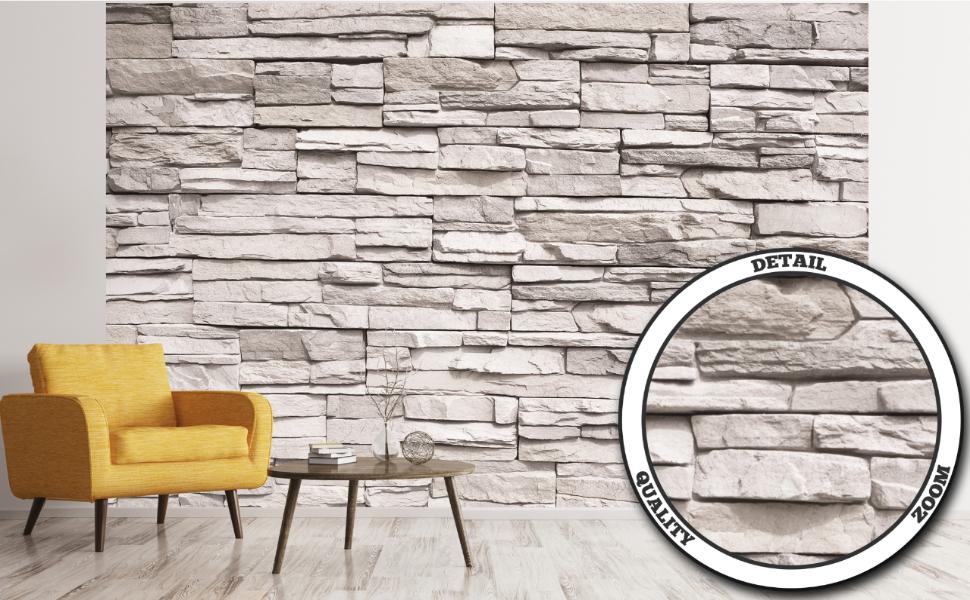 Muro De Piedra Blanca GREAT ART Mural De Pared Muro De Piedra Natural Foto Papel Pintado Y Tapiz Y Decoraci/ón 210 x 140 cm Revestimiento De Paredes De Dise/ño Industrial