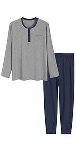 men bamboo viscose long sleeves sleep top full length pajamas pants with pockets soft