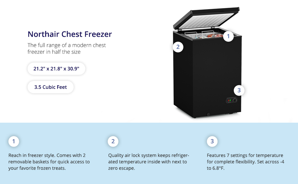 northair black chest compact freezer