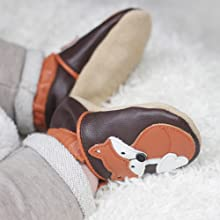 Dotty Fish Baby Shoes in brown leather with Freddie Fox design, baby wearing leather crib shoes