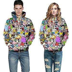 cartoon print hoodie