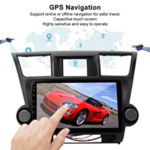 Acouto Car Player Radio,10.1in Car GPS Navigation Stereo Radio Player for Android Fits for Highlander 09-12