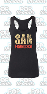 Pop Threads California State Flag Republic Los Angeles Bear Fashion Tank Top Tee for Women