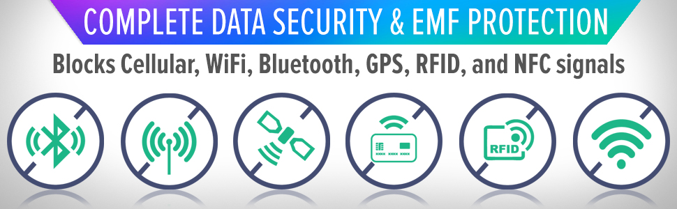Data Security & EMF Protection - Blocks  Bluetooth, Cellular, GPS, NFC, RFID, WiFi & 5G