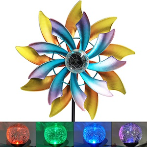 57 Inch Solar Wind Spinner with Metal Garden Stake