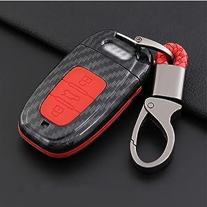 Ontto Smart Autoschlüssel Hülle Cover Für Audi A4l S4 A5 S5 A6 C7 S6 A7 A8l S8 Q5 Schlüssel Tasche Abs Gummi Schlüsselhülle Schutzhülle Schlüsselschutz Mit Schlüsselanhänger 3 Taste Kohlefaser Rot Auto