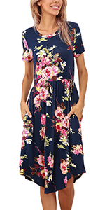 short sleeve summer casual midi dress with pockets for women