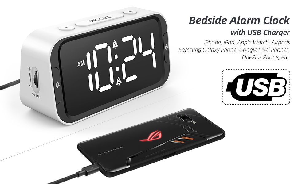 Bedside Alarm Clock with USB Charger