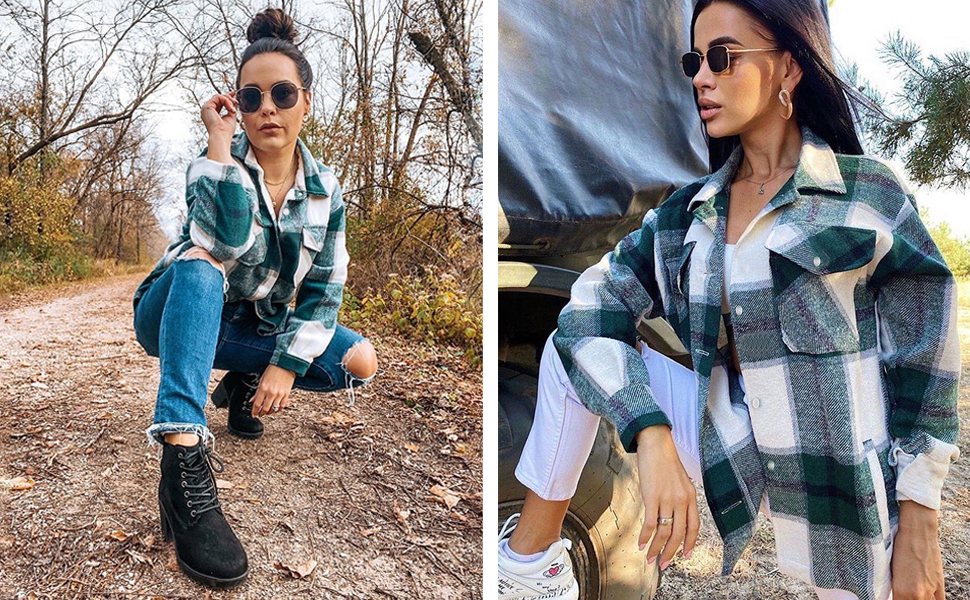 women plaid long sleeve shirt jacket casual wool blend button down shacket shirts coat plaid shirt