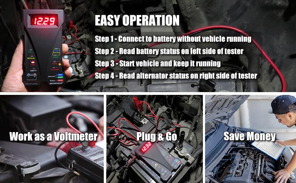 motopower battery tester alternator tester