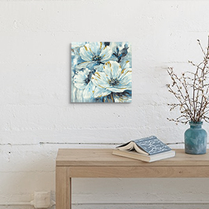 Flowers Artwork Wall Art Pictures: White & Teal Lily Floral Canvas Prints for Living Rooms