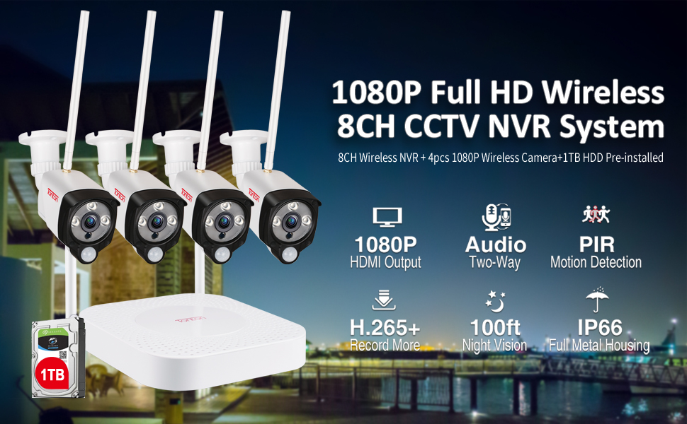 8CH NVR with 4 cameras and 1TB HDD Kit