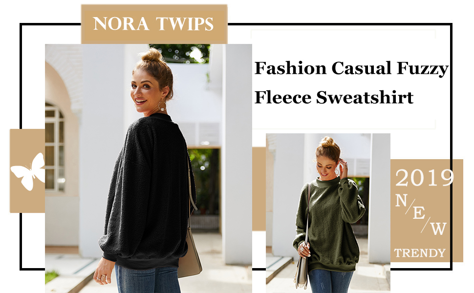 NORA TWIPS Womens Casual Long Sleeve Fuzzy Fleece Sweatshirt Pullover Solid Color Fluffy Crewneck Fashion Tops