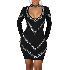 PORRCEY Woman Sexy hot Diamond Craft Sexy Long Sleeve Dress Party Club Night Dress