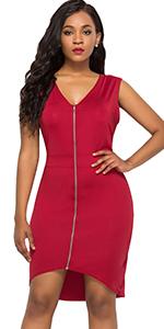 sleeveless zipper front dress mini club dress plus size