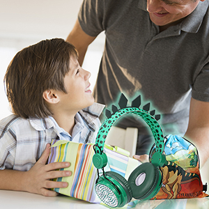 Kids Headphones Boys Wireless Bluetooth Headset w/Mic Over On Ear for School Dinosaur Headphones