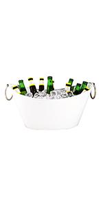 oval, waved, white, galvanized, steel, metal, premium, bucket, ice, party, tub, beer, wine