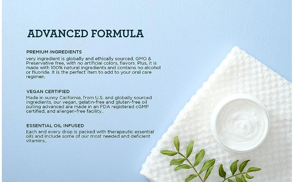 advanced formula premium ingredients vegan essential oil oil pulling