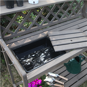 garden bench with sink