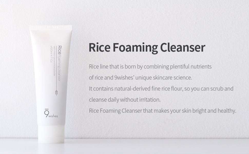 Amazon.com: [9wishes] Rice Foaming Cleanser 4.0Fl. Oz, 120ml: Beauty