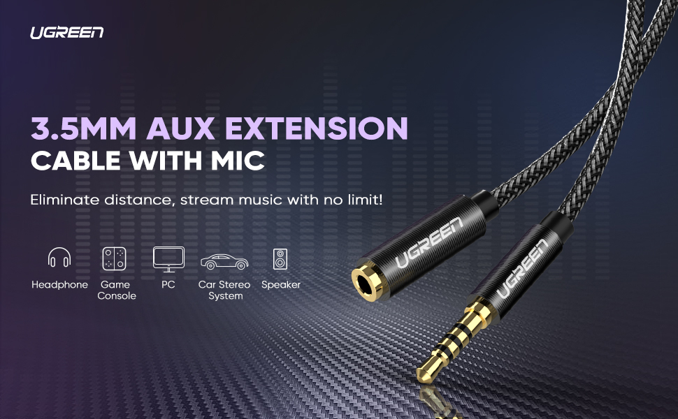 UGREEN 3.5mm Male to Female Extension Cable with Microphone Stereo Audio Adapter