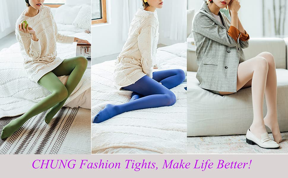 CHUNG Womens 80D Opaque Tights High Elastic 23 Color Candy Footed Pantyhose 90-160lbs