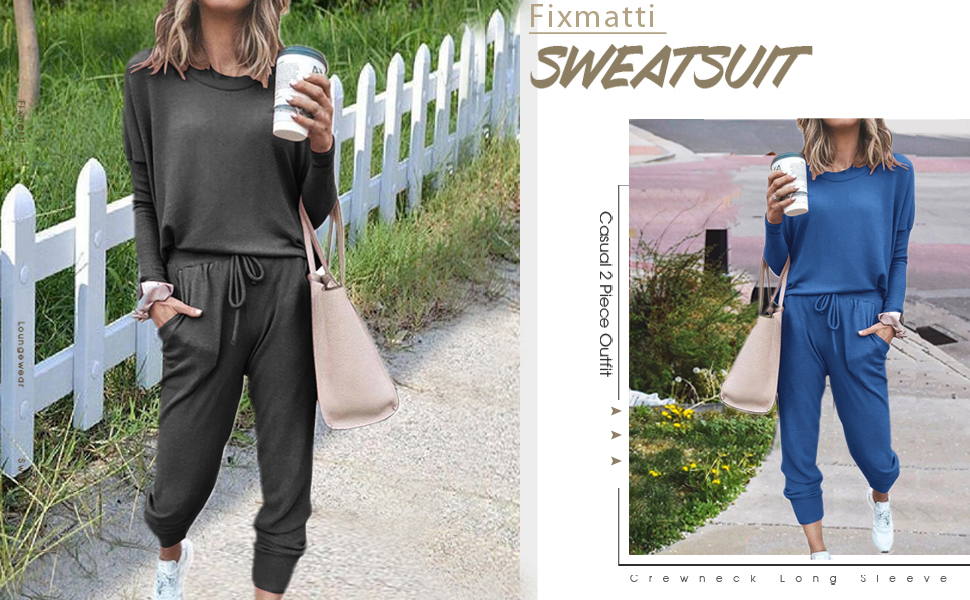 Sweatsuist Casual 2 Piece Outfit Long Sleeve Sweatpants Set