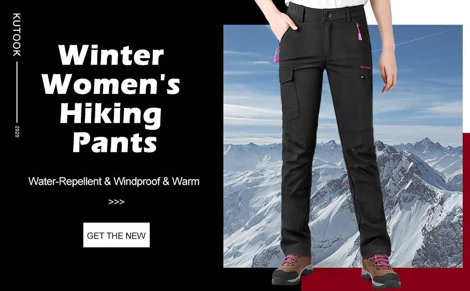 KUTOOK Wanderhose Damen Winter Thermo Softshell Hose Wandern Trekking Bergsteigen Radfahren Perfekt f/ür Outdoor Aktivit/ät HP311