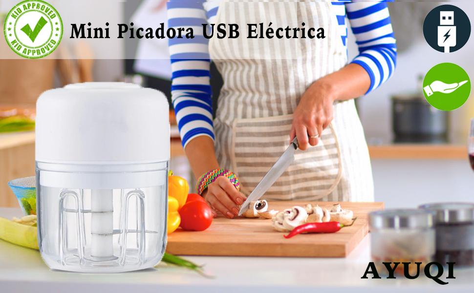 AYUQI Mini Picadora Eléctrica, Picadora de Vegetales con Procesador de Alimentos 22W / 250ML, Molinillo de 3 Cuchillas Afiladas, 1 Cepillo, Licuadora para Alimentos para Bebés, Carne, Frutas y Nueces: Amazon.es
