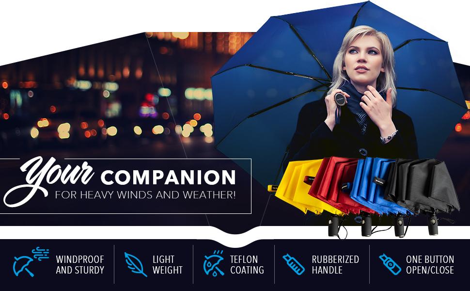 Umbrella FoldingVAN BEEKEN Water-Repellent Teflon-Coating,... Windproof