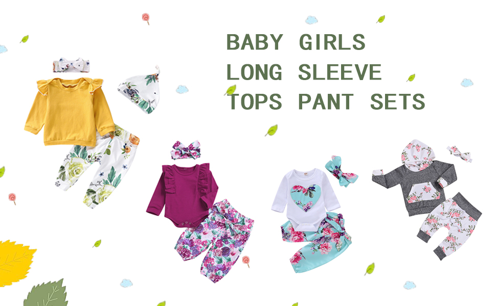 Jurebecia Newborn Baby Girls Clothes Letter Print Romper+Long Pants+Hat Outfits Set