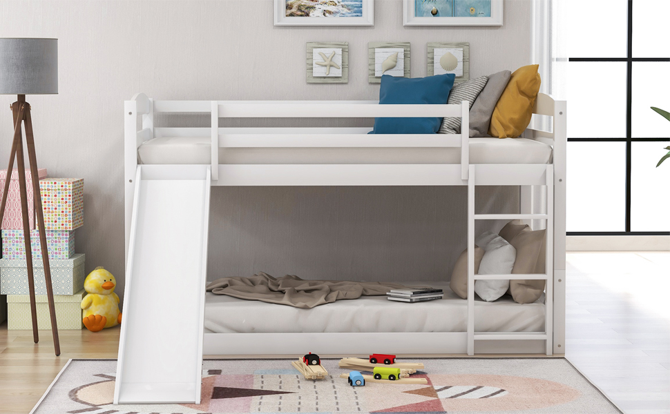 Amazon Com Low Bunk Beds For Kids And Toddlers Wood Bunk Beds No Box Spring Needed White Twin Bunk Beds With Slide Furniture Decor