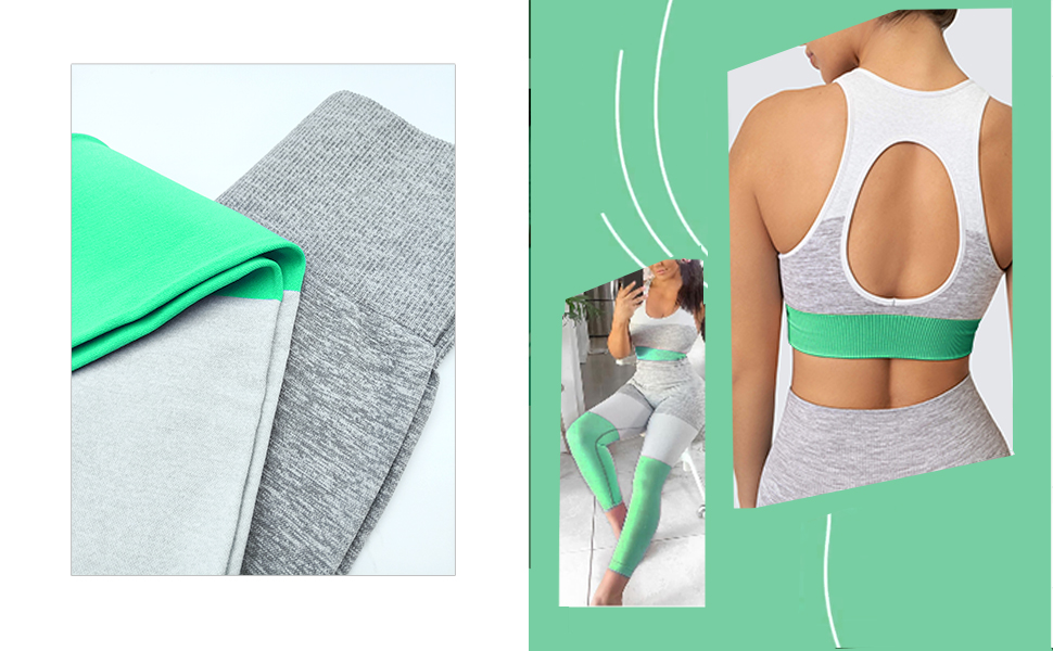 green Colorblocked workout outfit set