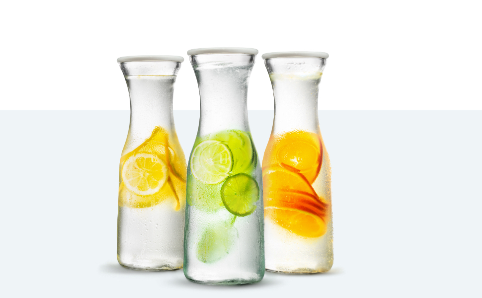 Water Carafe And Pitcher By Kook Glass Body And Plastic Lid Set Of 3 Carafes Pitchers