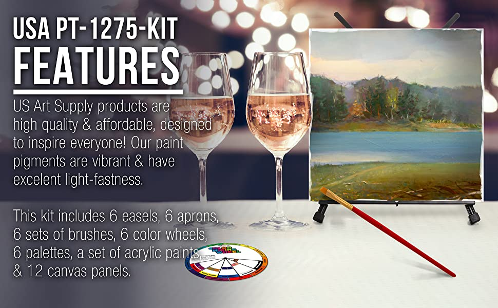 U.S. Art Supply Sip and Paint Party Painting Kit 6 Complete Sets