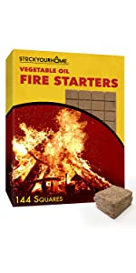Vegetable Oil Fire Starters (144 Squares) - No Kindling Required - Fire Starter Squares for Campfire