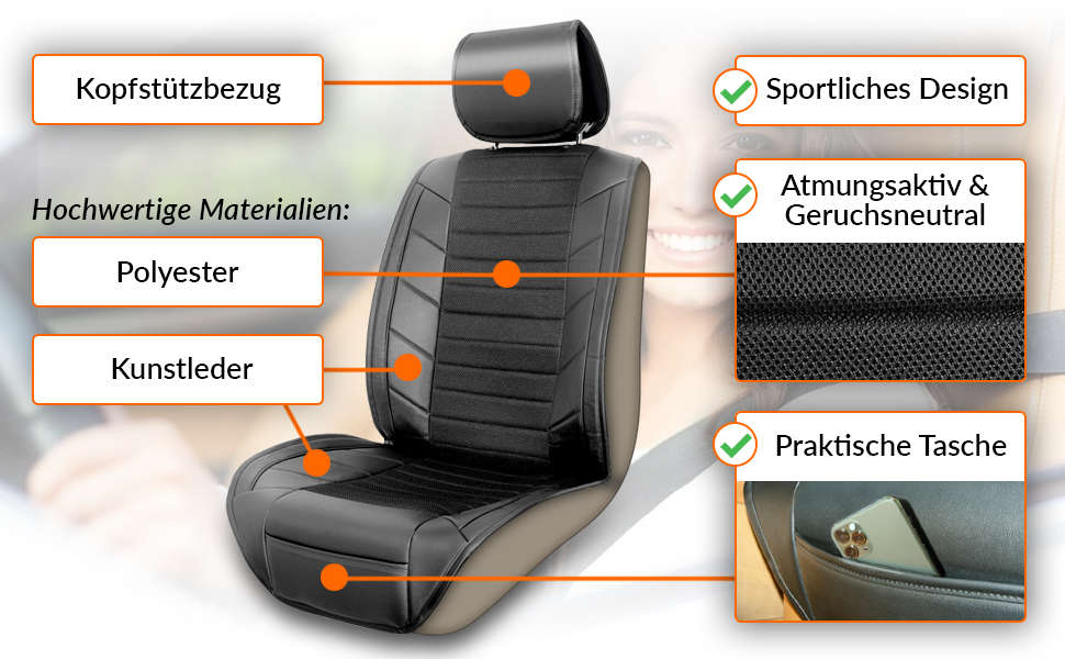Upgrade4cars Autositzschoner Rücksitz Organizer Auto Sitzbezug Für Vordersitze Mit Trittschutz Für Die Rückenlehne Auto Zubehör Innenraum Auto